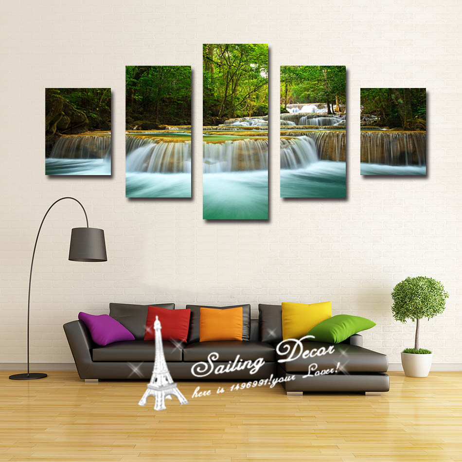 Hot selling home decor 5 panels set living room pictures for Selling home interior products
