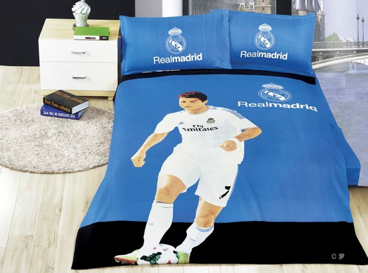 Home textile football team 100 cotton Portugal's cristiano ronaldo football fans for bedding bedroom set bed sheet set(China (Mainland))