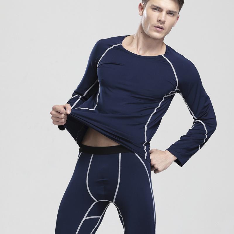 Round collar men thermal underwear suit long Johns render suit gentle heat velvet sport suit clothes long johns XDL-1181#(China (Mainland))