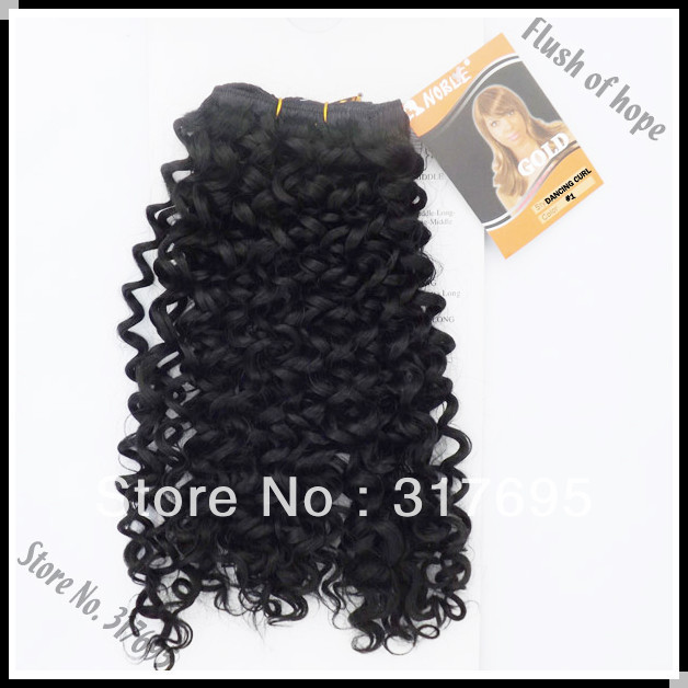Free Shipping Noble Gold Dancing Curl Synthetic Hair Extension Synthetic Hair Weaving Hair Weft Color 1 18inch