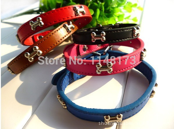 New Adjustable Pet Dog Cat Bone Leather Collars PU Leather Pet Products 5 colors & 3 sizes Drop&free Shipping collars(China (Mainland))