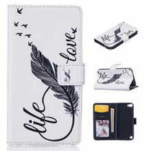 Retro printing Luxury Flip pu leather case for IPOD TOUCH 5 TOUCH 6 Relief Leather Mobile Phone Case Holder Wallet case