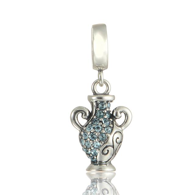 100% 925 - серебристо-ювелирные бусины хрустальная ваза ожерелья приспособленные Chamilia пандора браслеты серебро 925 DIY