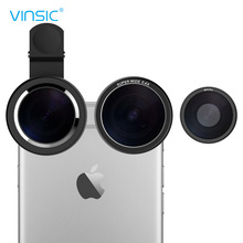 Vinsic Clip On 235 Degree Fish Eye Lens, Wide Angle Lens, 3 in 1 Camera Lens Kits for iPhone 6 Plus iPhone 5 5S Samsung Galaxy(China (Mainland))