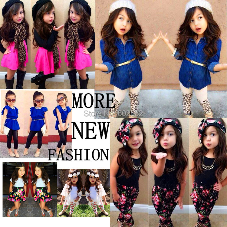 2015 Summer Autumn New Arrival Girls Fashion outfits 7 Designs clothing sets retail kids outfits 1 set XTW CX(China (Mainland))