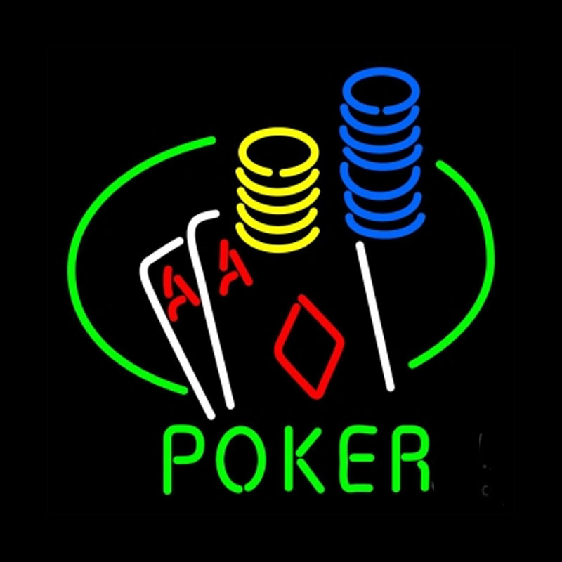 Poker Double Aces Table And Chips Neon Sign real Block Neon sign Lamp Neon Sign Beer Bar Pub Arts Craft custom LOGO Sign 24x24(China (Mainland))