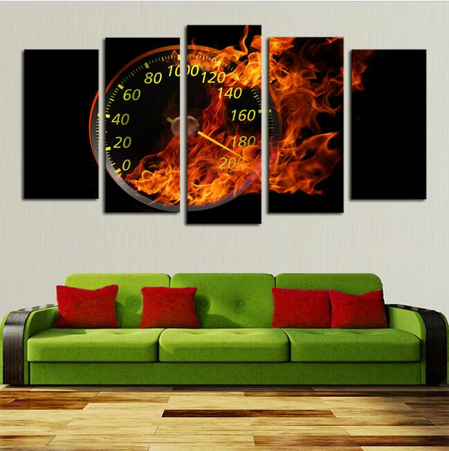 Hot Sell 5 Panels Abstract Oil Painting Wall Art The fire Wall Clock Canvas Pictures For Lving Room Decoration(China (Mainland))