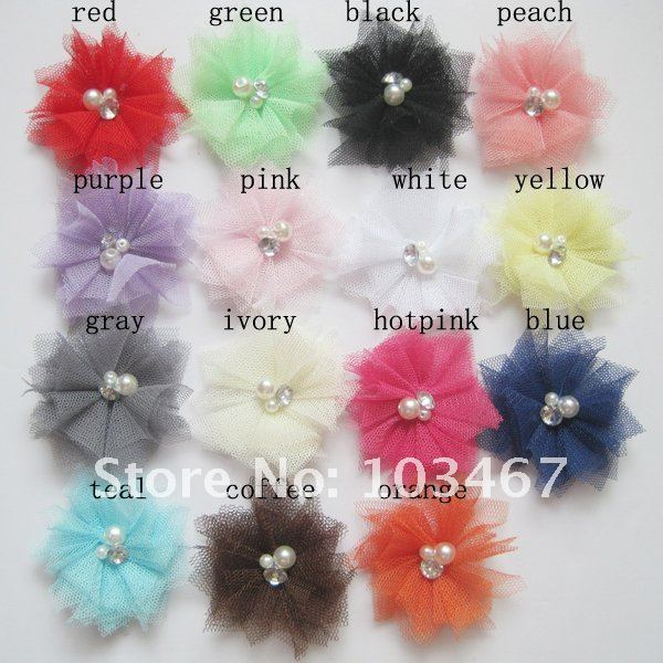 60pcs/lot Wholesale 2.5'' new crystal flower 15 colors for your choose best price