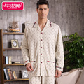 Autumn 2016 Full Sleeve Men s Pajama Sets Cotton Polka Dot Pyjamas Male Sleepwear Casual Turn