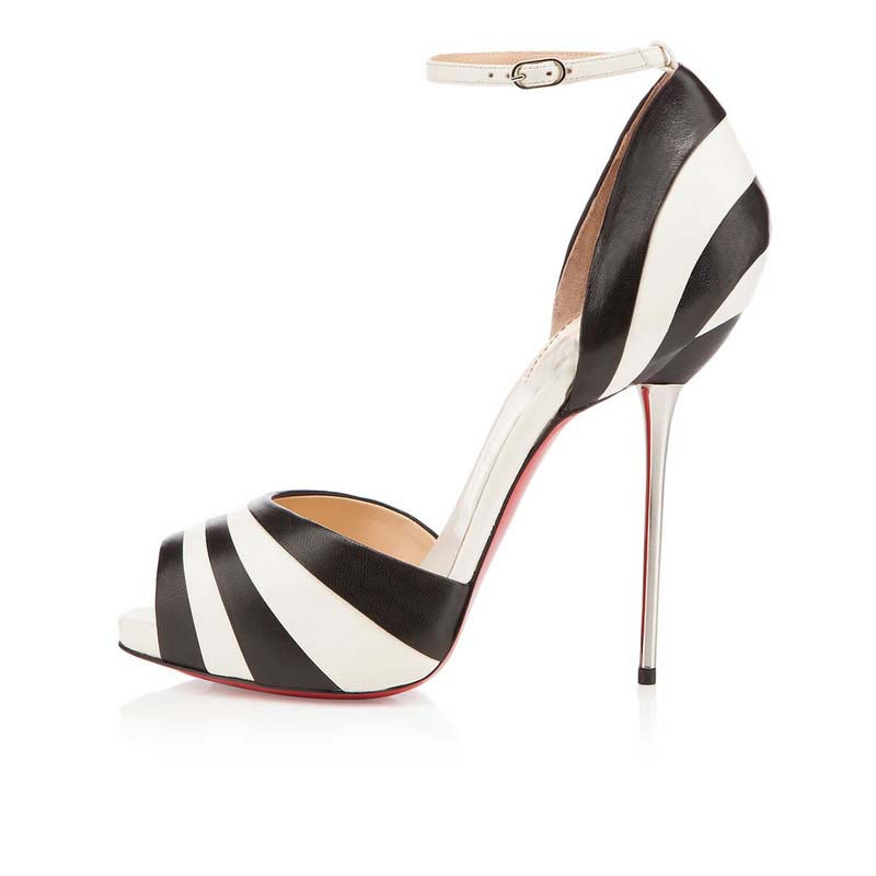 fashion women hot sale black and white stripe shoes sexy peep toe high heels elegant. Black Bedroom Furniture Sets. Home Design Ideas