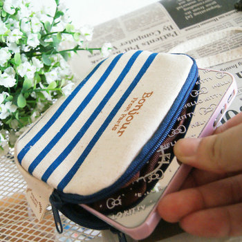 High quality product ocean wind brief stripe double zipper coin purse cartoon mobile phone bag key wallet