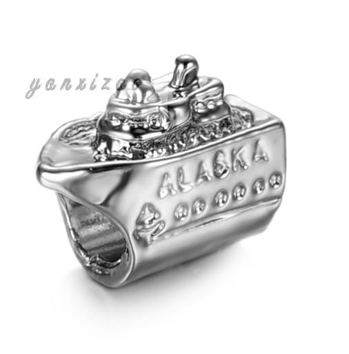 2Pc 925 Silver Ferry European Silver With Venetian Pearl Charm Pendant Beads Fit Pandora Style Bracelet/Necklace(China (Mainland))