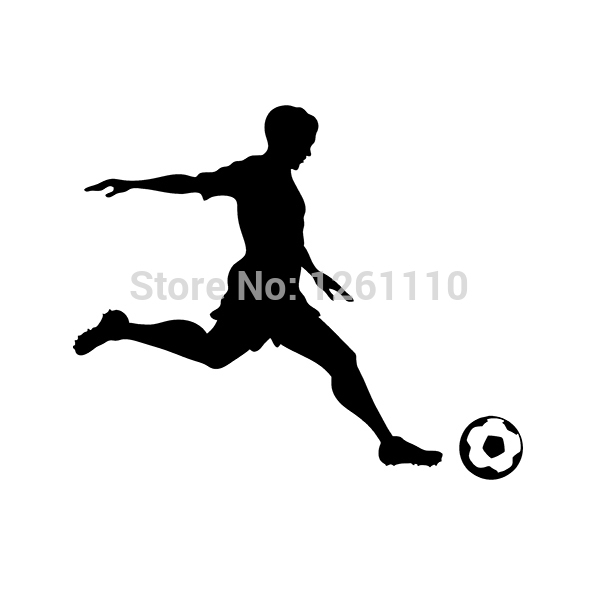 Soccer Player Sports Vinyl Decal Soccer Ball Sticker For Boat RV Car Quad Truck Window Bumper(China (Mainland))