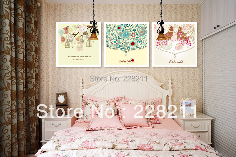 Free shipping 50x50cmx3 Home Cute Group Painting For Bed Room Children Picture Art Wall Painting Picture(China (Mainland))