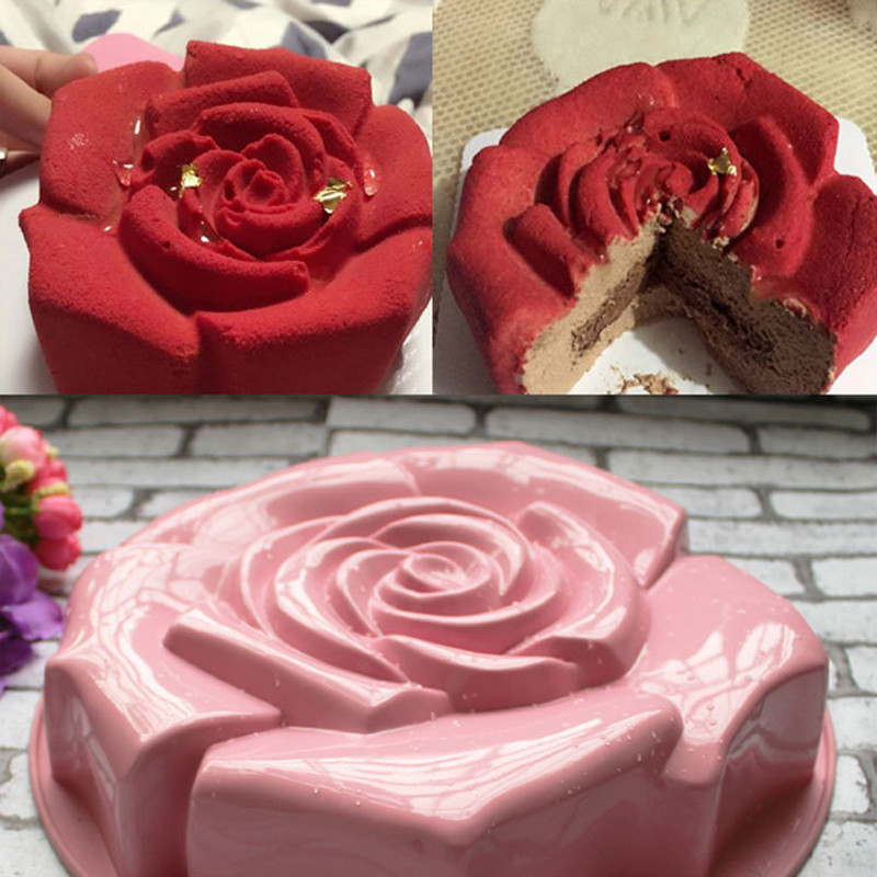 1pcs Different Color High Quality Rose Shape Silicone Cake Mould Chocolate Pudding Mold Kitchen DIY Cake Baking Pan Cake Tools(China (Mainland))