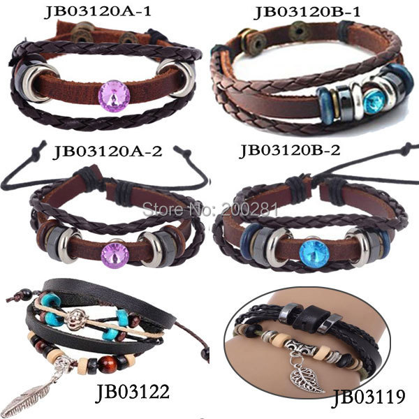 Fashion Wrap Multilayer Leather Rope Bracelet Women/Men Punk Buckle Braided Bracelet&Bangle Crystal - jewelry store