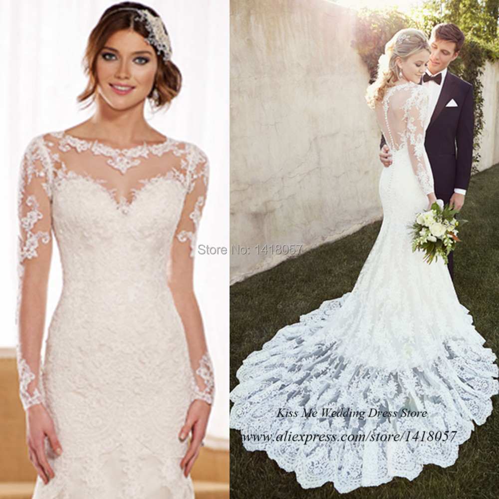 com buy 2015 country style long sleeve lace wedding dresses