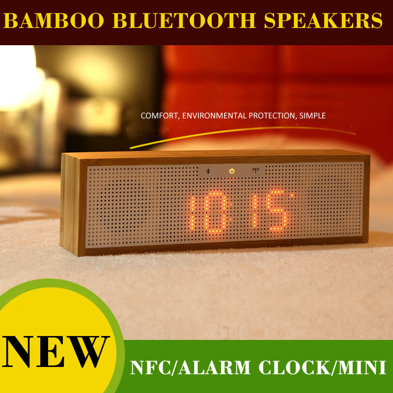 Original  Bamboo Bluetooth Speaker with LED time,Alarm Clock+FM radio+Hands-free support NFC boombox wireless speaker