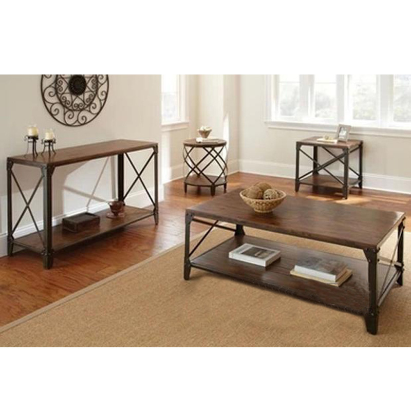 American country furniture retro coffee table living room for Round wood and metal coffee table