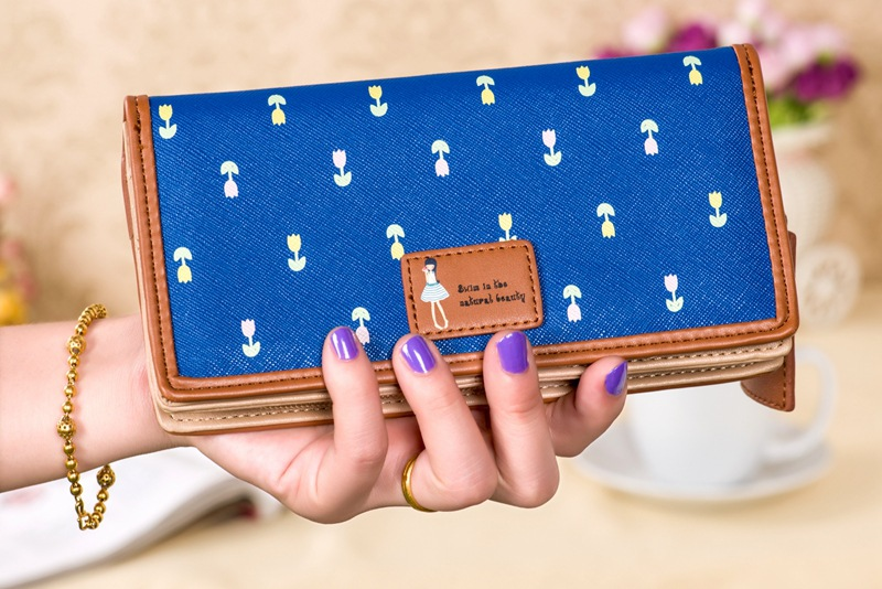 Long Printed Vintage Women Wallet Cartoon Female Purse Handbag Cell Phone Wallets Bolsos Carteras Mujer Coin Zipper BB067-SZ(China (Mainland))