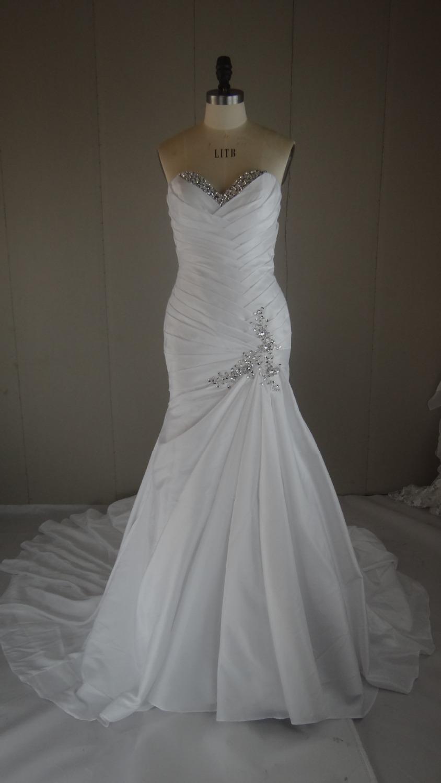 1 Meter Train Lace-up Closure Mermaid Taffeta Wedding Dress Custom Made(China (Mainland))
