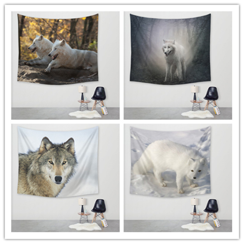 New Wolf Print Tapestry Hippie Home Decorative Wall Hanging Tapestries Table Cloth 150x130cm(China (Mainland))