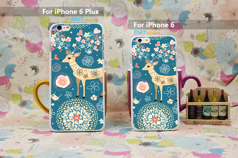 Elk decorative pattern rose animals birds Design Case Cover for iPhone 6 6s 6g 6 plus Hard White Skin Free shipping(China (Mainland))