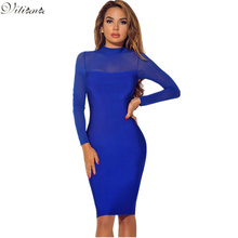 Buy VITIANA Brand Women Long Sleeve Bodycon Dress Autumn Winter Black Blue See Slim Sexy Club Casual Party Dresses for $9.51 in AliExpress store