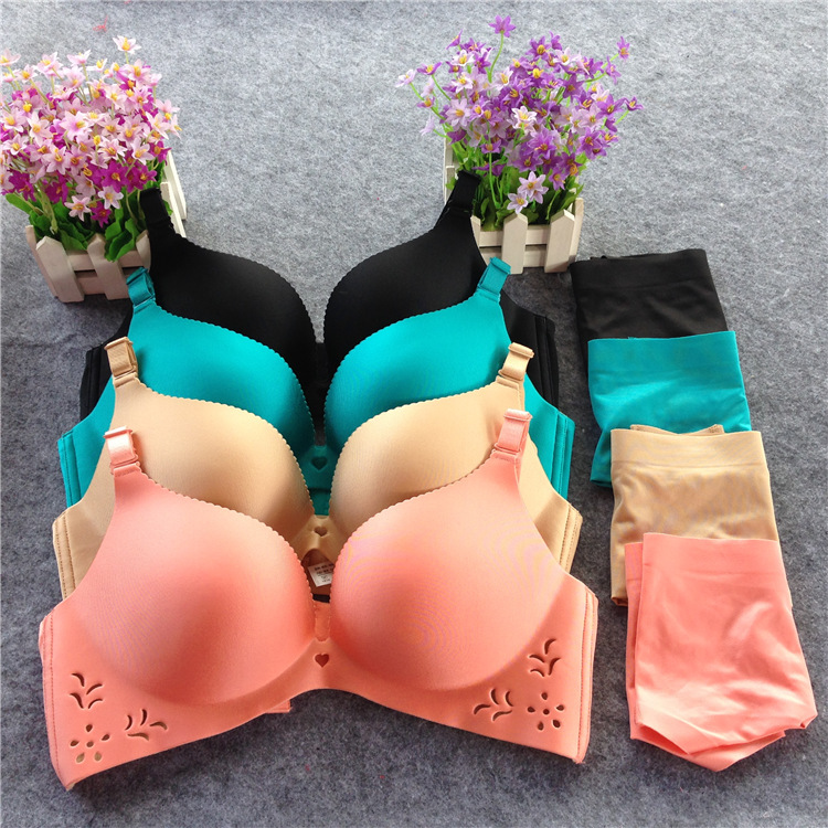 2016 Sutia Bras Seamless Steel Ring Free Hollow Carved Flower Petals Gather Underwear Goddess Bra Set Wholesale Manufacturers(China (Mainland))