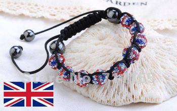 Factory Price,Bling Bling Mirco Pave CZ Crystal Ball Bead UK Flag Shamballa Bracelet British London Olympics