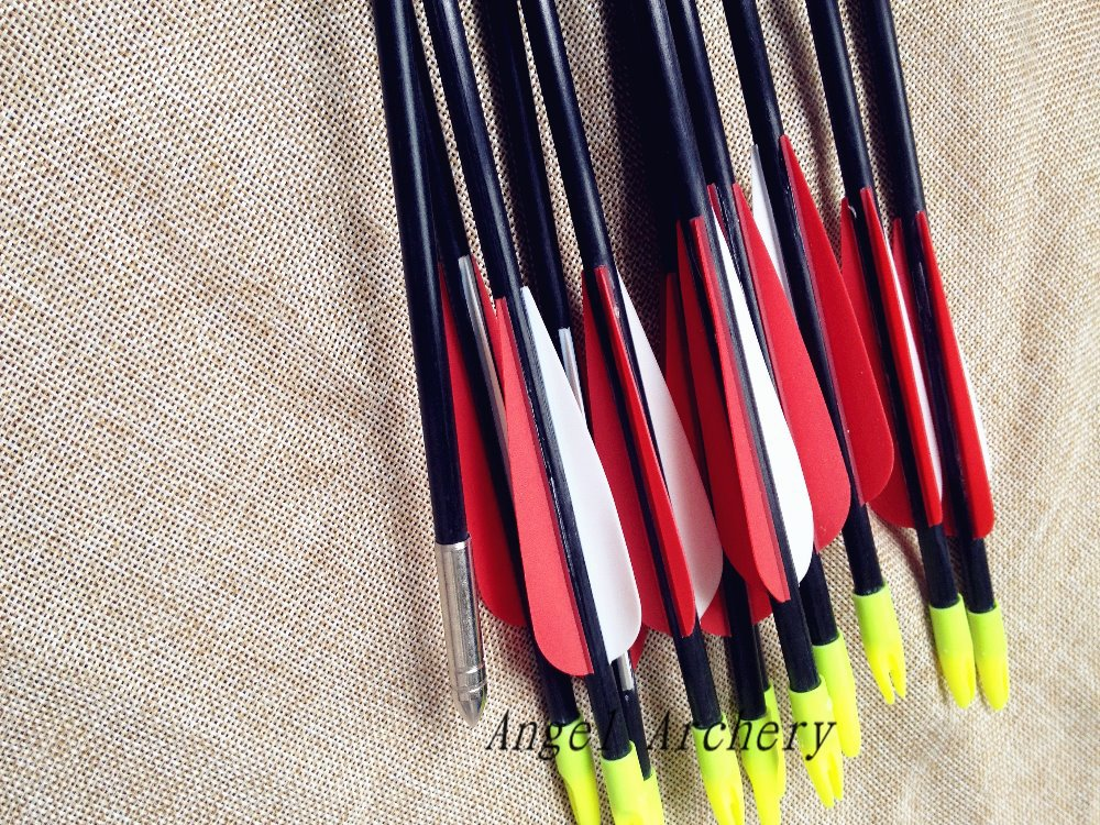 12PCS good sport goods for hunting nice feaathers FiberGlass Arrows for Archery Hunting Compound Bow hunters(China (Mainland))