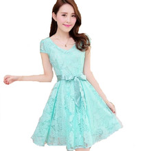 2016 New Korea Summer Women V-neck Short Sleeve Belt Lace Chiffon Mini Cute Vestidos A-line Slim Dress Plus Size 2 Colors ZS800