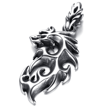 Mens Gothic Biker Stainless Steel Pendant Necklace, Silver, Dragon KP9701