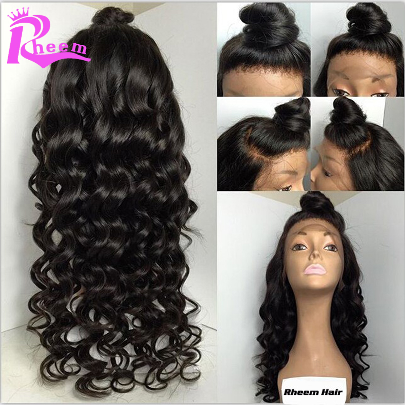 Fashion Wavy Virgin Brazilian Hair Glueless Lace Front Wig &amp; Full Lace Human Hair Wigs With Bangs For Black Women Free Shipping<br><br>Aliexpress