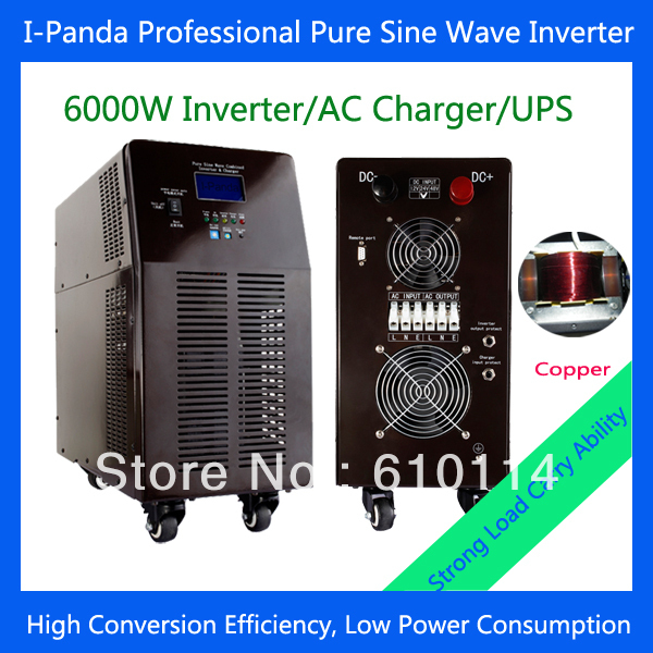 6000W Solar power 24V 48V DC to AC pure sine wave inverter charger with UPS pump inverter air conditioner inverter(China (Mainland))