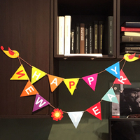 Happy New Year Party Bunting Flags Paper Bunting Banner For Party Home Decorations Christmas Supplies