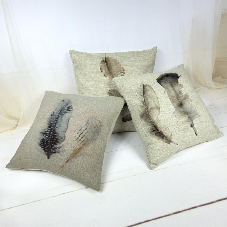 Hot Sale Thick and Thin Cotton Linen Decor Pillow New Home Fashion Gift 45cm Graffiti Feather pattern Boho Office Sofa Cushion