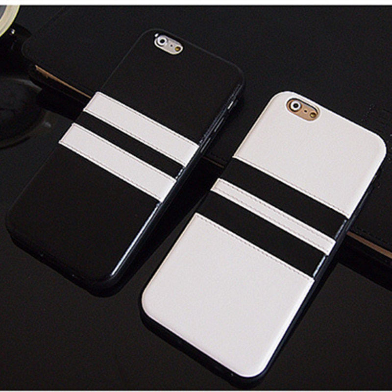 Contracted black and white striped 6s phone shell for iPhone 6 soft silicone sleeve sheath 6plus Couple Protect shell