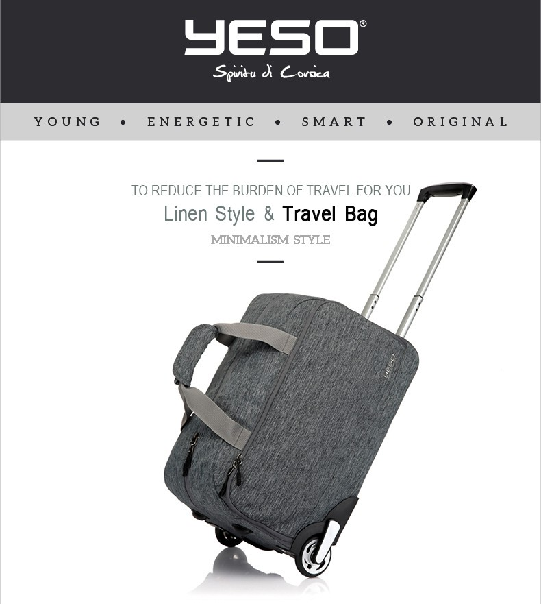 b1ba60f2e0eb YESO Trolley Travel Bag Hand Luggage 20 inch 32L Rolling Duffle Bags  Waterproof Oxford Suitcase Wheels Carry On Luggage Unisex.  20160601 101851 006