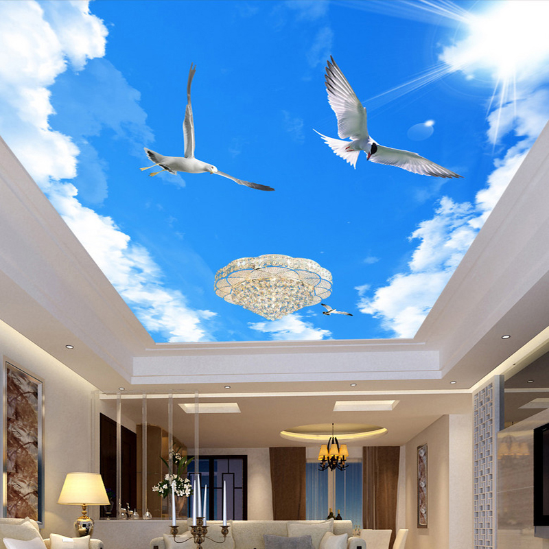 Popular ceiling wallpaper clouds buy cheap ceiling for 3d ceiling paper