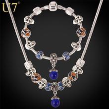 U7 DIY Колье Из Бисера Тибетский Серебряный Позолоченный Опал Камень Ожерелье Браслет Чешский Комплект Ювелирных Изделий S607(China (Mainland))