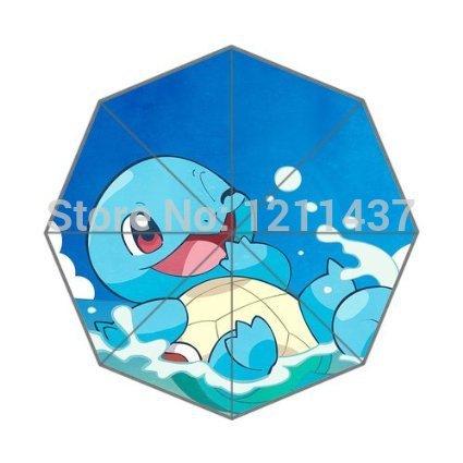 Pokemon Turtle Playing Water Cute Automatic 3 Fold Umbrellas child cute rain sun umbrella(China (Mainland))