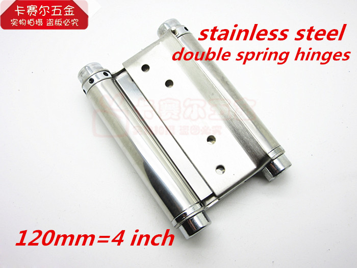 Wholesale 4in Strong Stainless Steel Double action spring hinge swinging door hinge 2pcs/lot(China (Mainland))