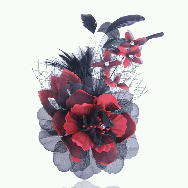 Wedding Party Race Lady Fascinator Peacock Feather Flower Hair Clip Accessory, Feather Headpiece Fascinator Bridal(China (Mainland))