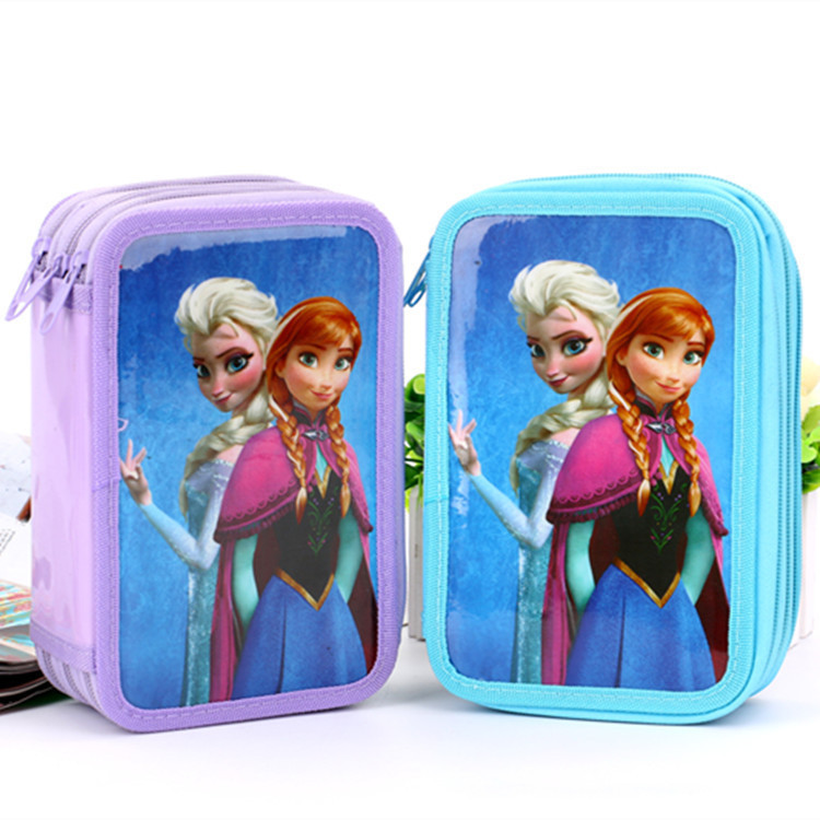 2015 Hot sale Elsa and Anna School supplies Pencil Case/bag material escolar Stationery Bags for kids with 3 Layer papeleria(China (Mainland))