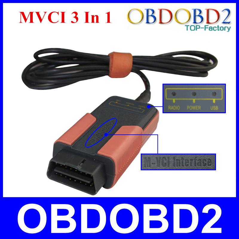Best Quality MVCI 3 IN 1 OBD2 Reprogramming Tool M-VCI Scanner For TIS/HDS/Lexus//Volvo Dice Support Multi-Languages(China (Mainland))