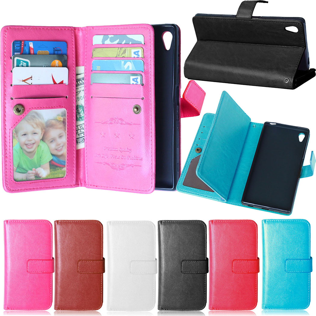 PU Leather Case with 9 Card Holders Wallet Flip Stand Cover Case for Sony Xperia Z5 E6603 E6633 E6653 Phone Cases for sony z5