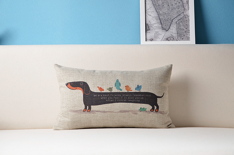 ON SALE Dachshund Dogs And Birds Illustration Home Decoration Pillowcase American Style Cushion Cover Modern Pillow Case(China (Mainland))