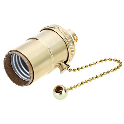 E26 E27 Brass Screw 110V - 250V Thread Light Vintage Copper Lamp Holder with Golden Pull Chain Switch with free shipping(China (Mainland))