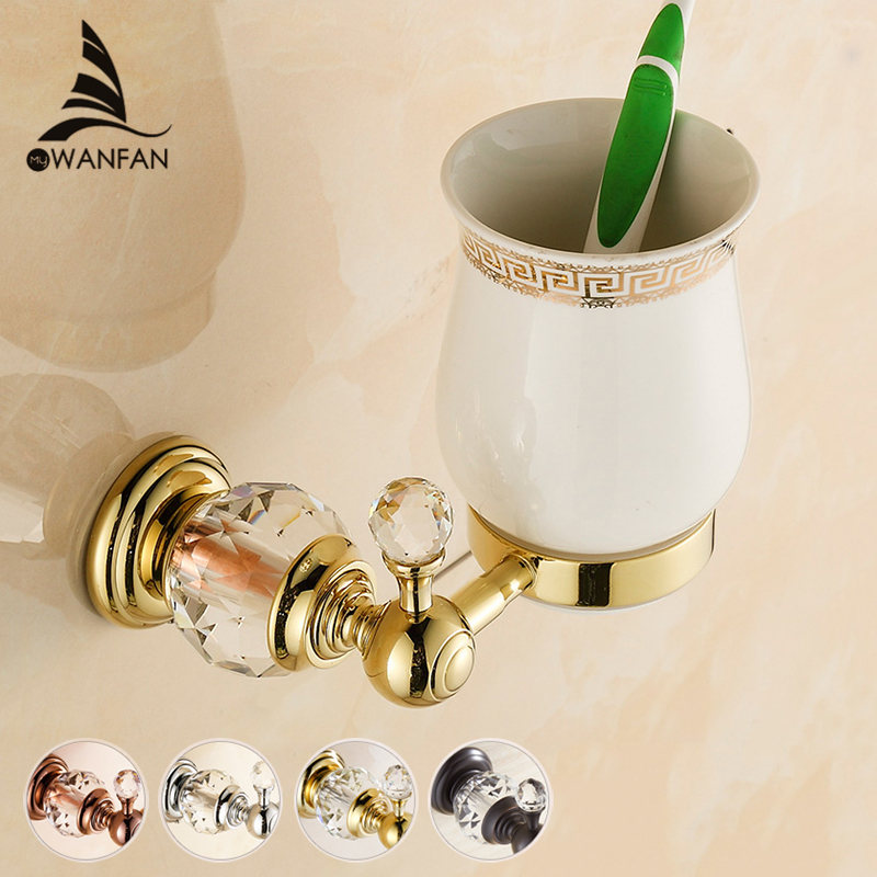 Free shipping Golden Crystal+ Brass+Glass Bathroom Accessories Single cup Tumbler Holders,Toothbrush Cup Holders HK-321(China (Mainland))